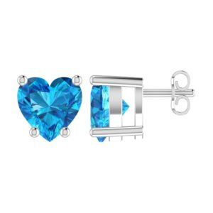 Solid Sterling Silver 5mm Heart Shaped 1/3 Carat Blue Cubic Zirconia High Polished Stud Earrings with Push Backs