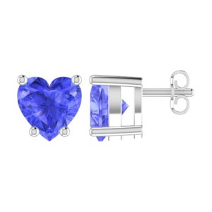 Solid Sterling Silver 5mm Heart Shaped 1/3 Carat Light Purple Tanzanite Cubic Zirconia High Polished Stud Earrings with Push Backs