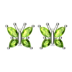 Beautiful Sterling Silver Peridot Butterfly Stud Earrings