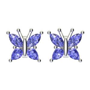 Beautiful Sterling Silver Tanzanite Butterfly Stud Earrings