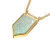 "Octagon 14.8mm Created Opal Pendant Necklace with 17.6"" cable chain"