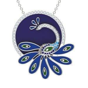 "Solid Sterling Silver Multi-Gemstone Enamel Peacock 18"" Cable Chain with Swiss Blue Topaz & Cubic Zirconia on Side."