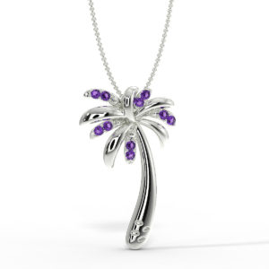 Solid Sterling Silver Tropical Palm Tree Necklace in Amethyst