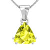 Solid Sterling Silver 3 Carat Natural Lemon Quartz Necklace with 17.5 inch Anchor Chain SSP 1200