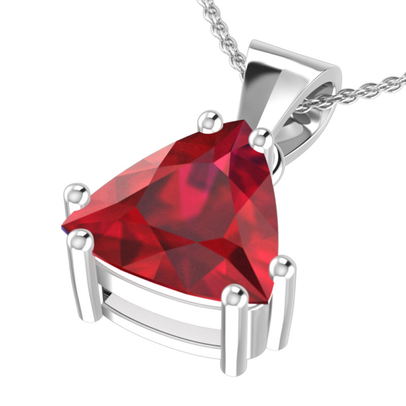 Solid Sterling Silver3 Carat Lab-Grown Ruby Pendant Necklace with 17.5 inch Anchor Chain SSP 1200