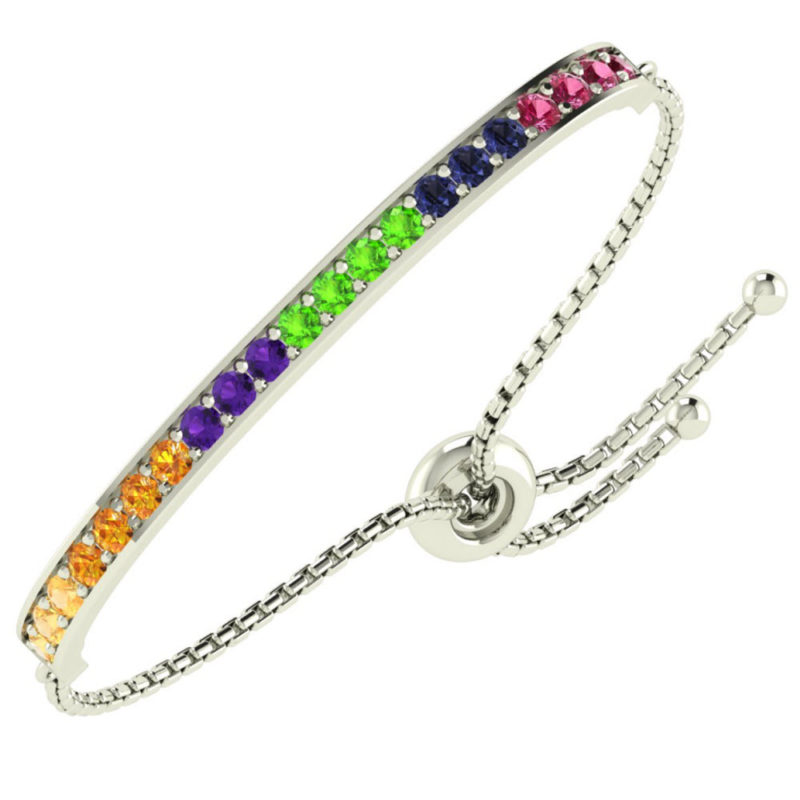 Solid Sterling Silver Oval Shaped 21 Multi stoned, Multi colored Bolo Bracelet with Adjustable Bead Clasp SSB 0492
