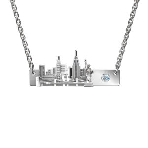 Solid Sterling Silver Big Apple Landscape with 3mm Lab-Grown Cubic Zirconia