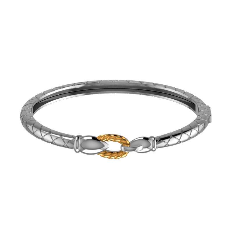 Slick Solid Sterling Silver Cuff Bracelet with a Tinge of 14K Gold