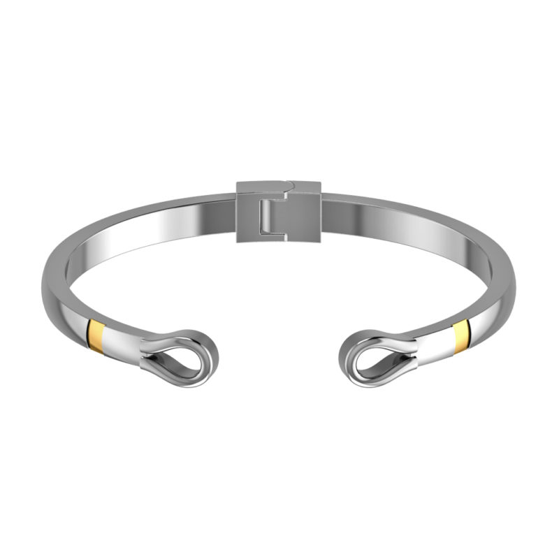 Solid Sterling Silver Adjustable Cuff Bangle Bracelet with a Tinge of 14K Gold