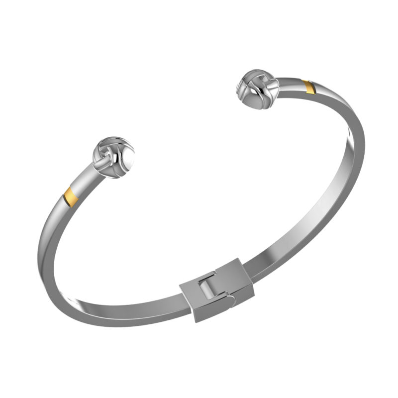 Solid Sterling Silver Adjustable Slick Cuff Bangle Bracelet with a Tinge of 14K Gold