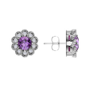 Solid Sterling Silver Flower Earrings with Amethyst