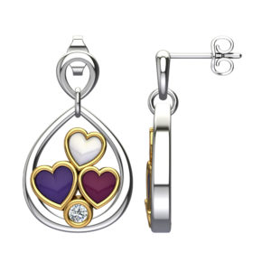 Solid Sterling Silver Pear Shape Triple Enamel Hearts in Off-White / Red / and Purple on Stud Earrings with a White Sapphire in The Center