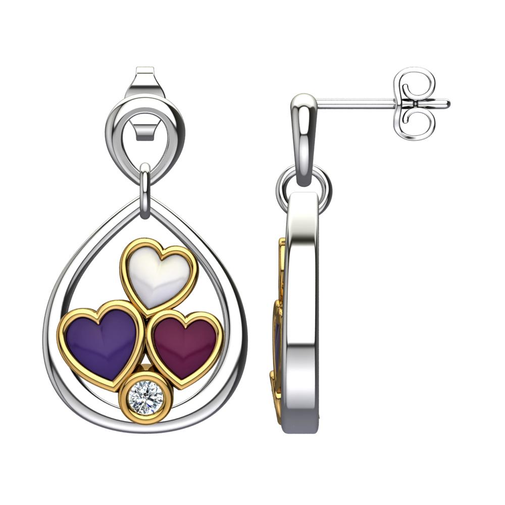 543e2ecd2 Solid Sterling Silver Pear Shape Triple Enamel Hearts in Off-White ...