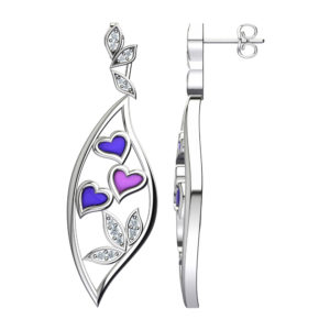 Solid Sterling Silver Butterfly Purple Hearts & Pink Hearts Enamel Design Dangle Earrings with White Sapphire Leaves