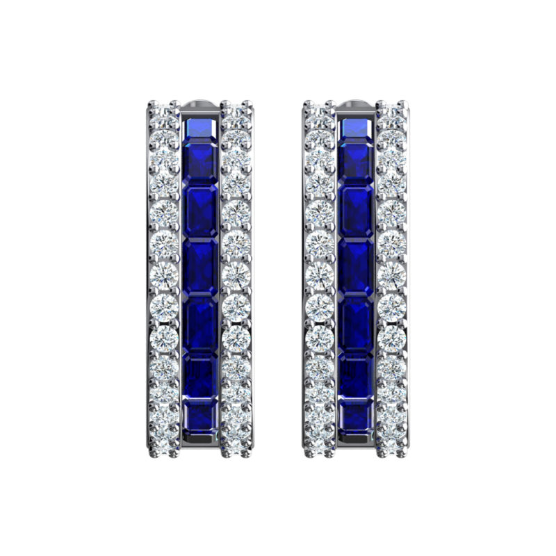 Solid Sterling Silver Dual White and Blue Sapphire Earrings