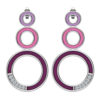 Solid Sterling Silver Stud Earrings, with Triple Detailed Rings in Light to Dark Purple Enamel & Lab-Grown White Sapphire on a Singular Edge