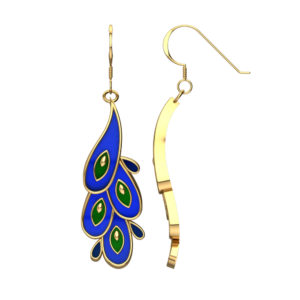Solid Sterling Silver Dangling Earrings with Slick Blue Water Shaped Enamel, Green Pear Shaped Enamel and Yellow Enamel around the Edge and Middle