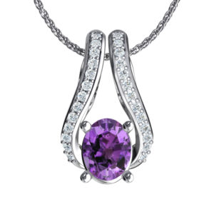 Sterling Silver Two-Tier Necklace in 9x7mm Amethyst