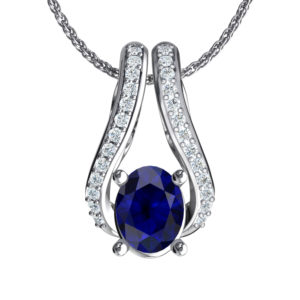 Solid Sterling Silver Two-Tier Necklace in 9x7mm Lab-Grown Blue Sapphire