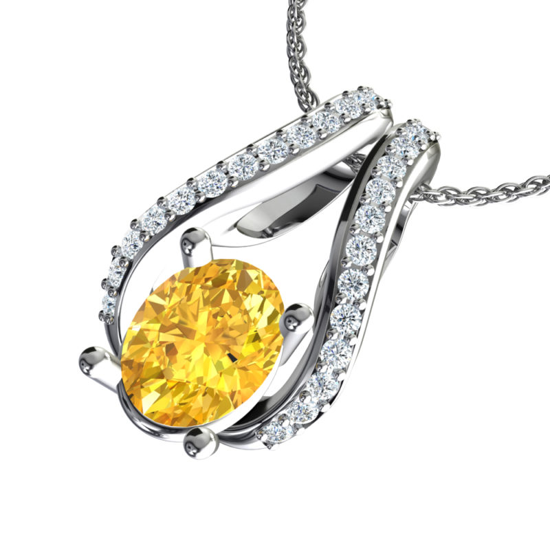 Solid Sterling Silver Two-Tier Necklace in 10x8mm Natural Citrine
