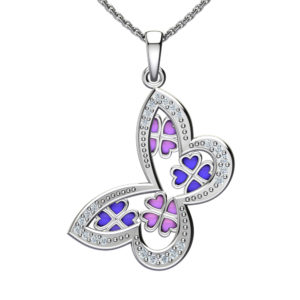 "Solid Sterling Silver Butterfly Enamel Decor with Cubic Zirconia on the Edges in a 17.5"" Anchor Chain Necklace."