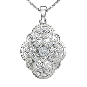 """Solid Sterling Silver Floral Decor Necklace with Cubic Zirconia on The Edges and an Elevated Circular Edifice on a 17.5"""" Anchor Chain"""