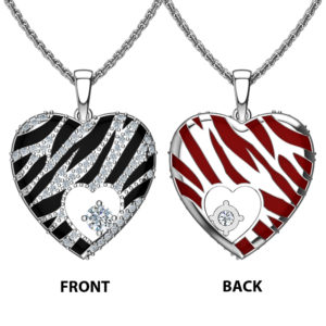 "Solid Sterling Silver Dual Sided Stripes with Red & Black Enamel Cubic Zirconia Pendant Necklace with 18"" Singapore Chain"