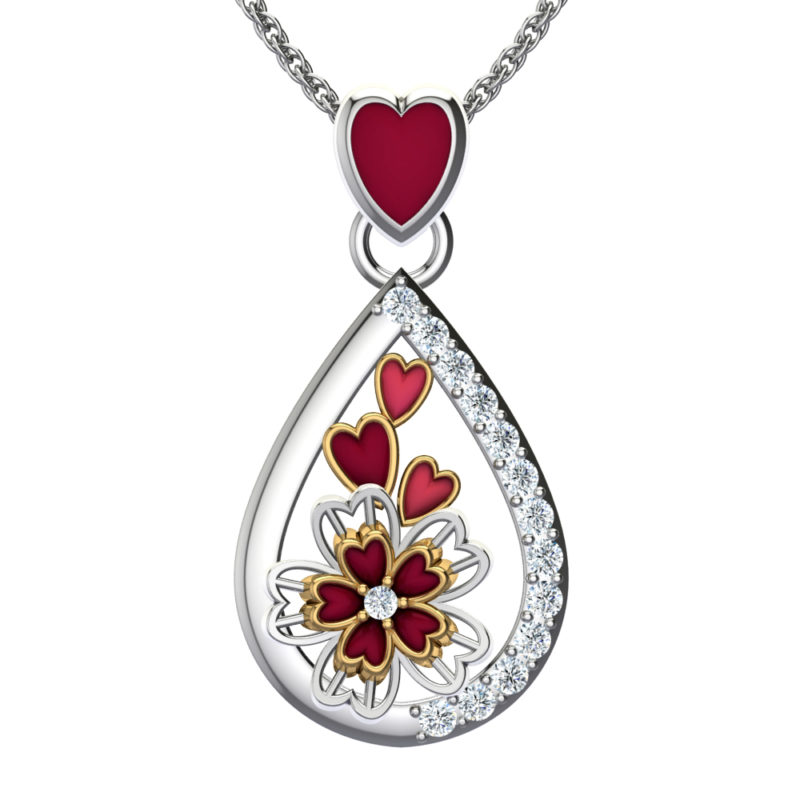 """Solid Sterling Silver Pear Shaped Triple Floral Action with Cubic Zirconia Spread Along a 17.5"""" Anchor Chain Necklace"""