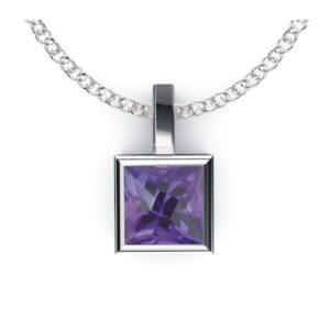 Solid Sterling Silver 1.75-2.25 CTW Square Shaped Gemstone Pendant Necklace for Women