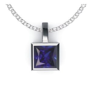 Solid Sterling Silver Square Shaped Bezel Set 2.2 CTW Lab-Grown Blue Sapphire Pendant Necklace with Anchor Chain, High Polished Pendant Necklace for Women, Bridal Pendants …