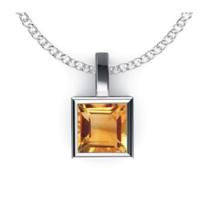 Solid Sterling Silver Square Shaped Bezel Set 1.8 CTW Citrine Pendant Necklace with Anchor Chain