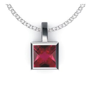 Solid Sterling Silver Square Shaped Bezel Set 2.2 CTW Lab-Grown Ruby Pendant Necklace with Anchor Chain, High Polished Pendant Necklace for Women, Bridal Pendants …