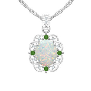 Fall in love with beautiful Created Opal, Diamonds and Chrome Diopside necklace