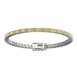 Gorgeous Solid Sterling Silver Bracelet with 3mm Round Natural Citrine & Natural White Topaz Tennis Bracelet