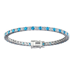 Gorgeous Solid Sterling Silver Bracelet with 3mm Round Natural Swiss Blue Topaz & Natural White Topaz Tennis Bracelet