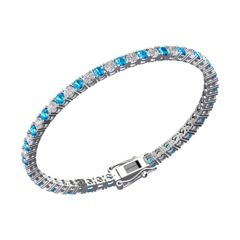 Gorgeous Solid Sterling Silver Bracelet with 3mm Round Natural Swizz Blue Topaz & Natural White Topaz Tennis Bracelet
