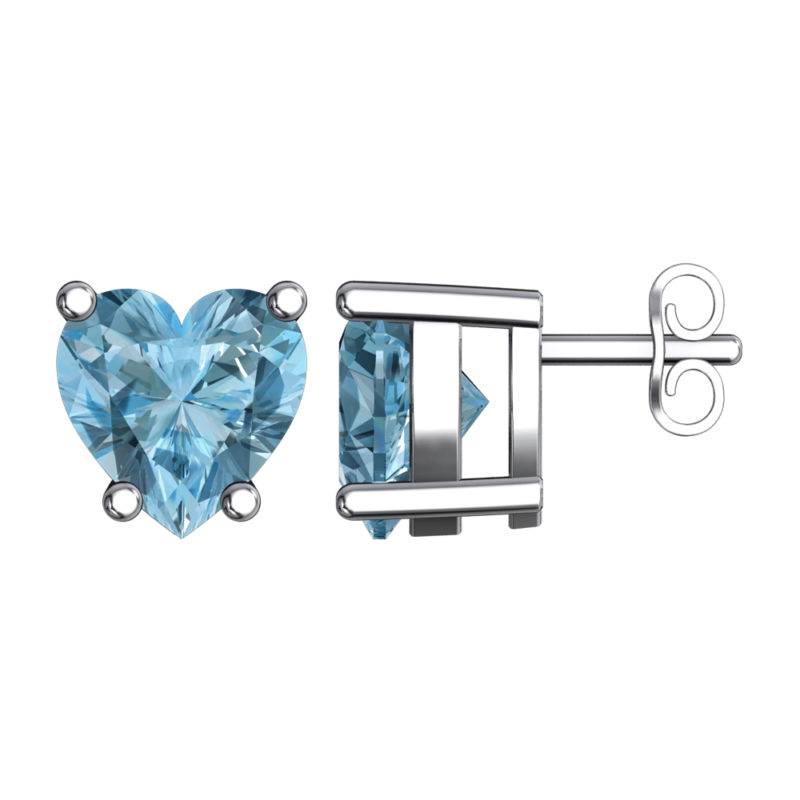 Solid Sterling Silver 5mm Heart Shaped 3 Carat Sky Blue Aquamarine Cubic Zirconia High Polished Stud Earrings with Push Backs