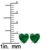 Solid Sterling Silver 5mm Heart Shaped 3 Carat Emerald High Polished Stud Earrings with Push Backs