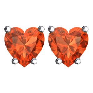 Solid Sterling Silver 5mm Heart Shaped 3 Carat Orange Cubic Zirconia High Polished Stud Earrings with Push Backs