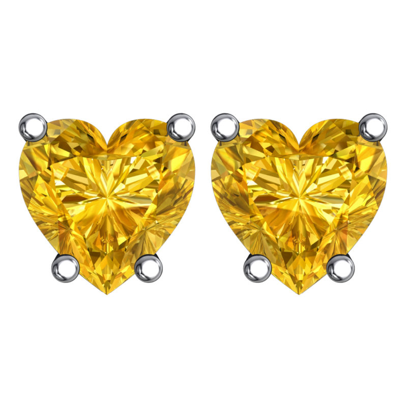 Solid Sterling Silver 5mm Heart Shaped 3 Carat Yellow Citrine Cubic Zirconia High Polished Stud Earrings with Push Backs
