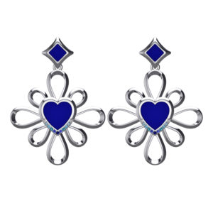Solid Sterling Silver Heart Shaped Snow Flake Chandelier Earrings in Blue Enamel