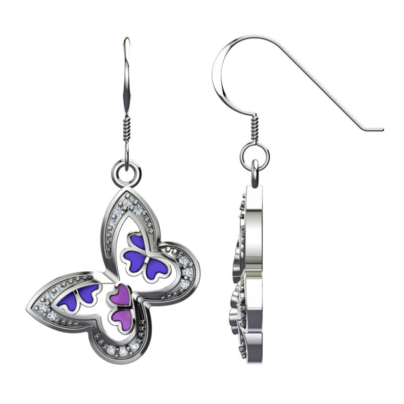 Solid Sterling Silver Butterfly Enamel Decor with White Topaz on the Edges Dangle Earrings