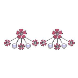 Solid Sterling Silver Flower Chandelier Earrings in Pink Enamel with White Pearls