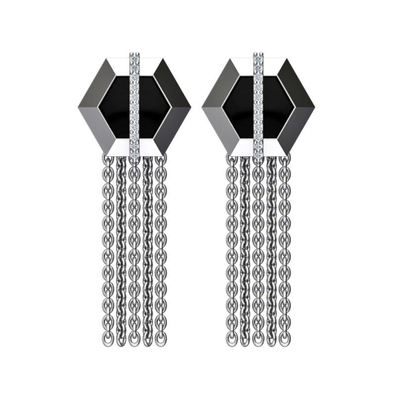 Solid Sterling Silver Grey Hexagon Border, Black Enamel background with Chain and Vertical Lab-Grown White Sapphires in the Center of a Stud Earring