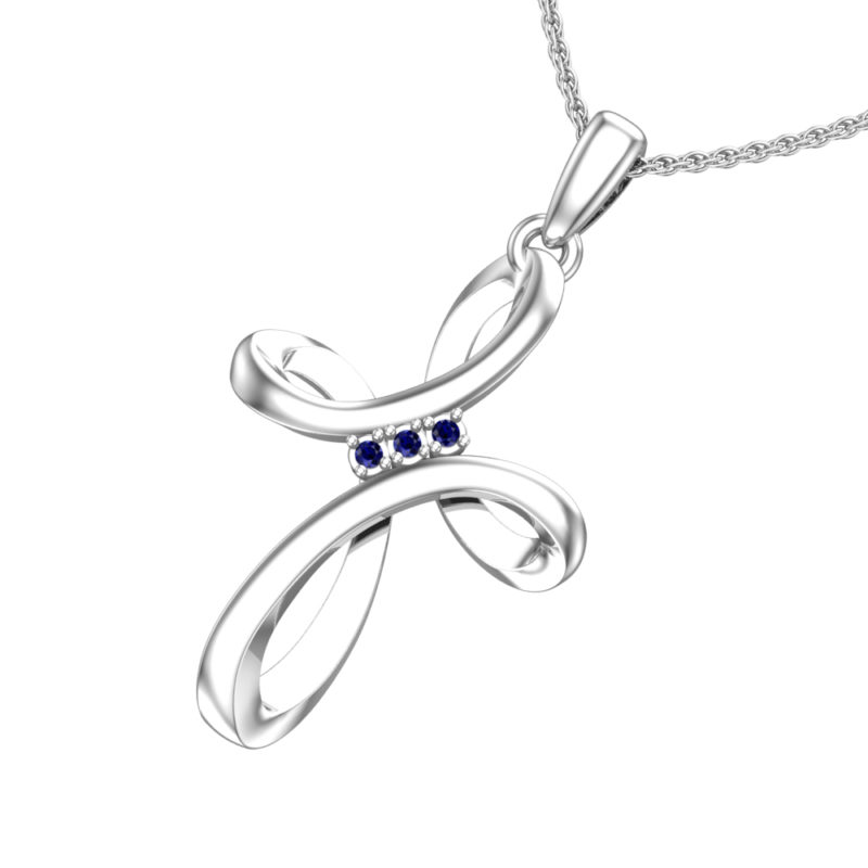 Sterling Silver Looped Cross Necklace in Lab-Grown Sapphire with 18″ Chain