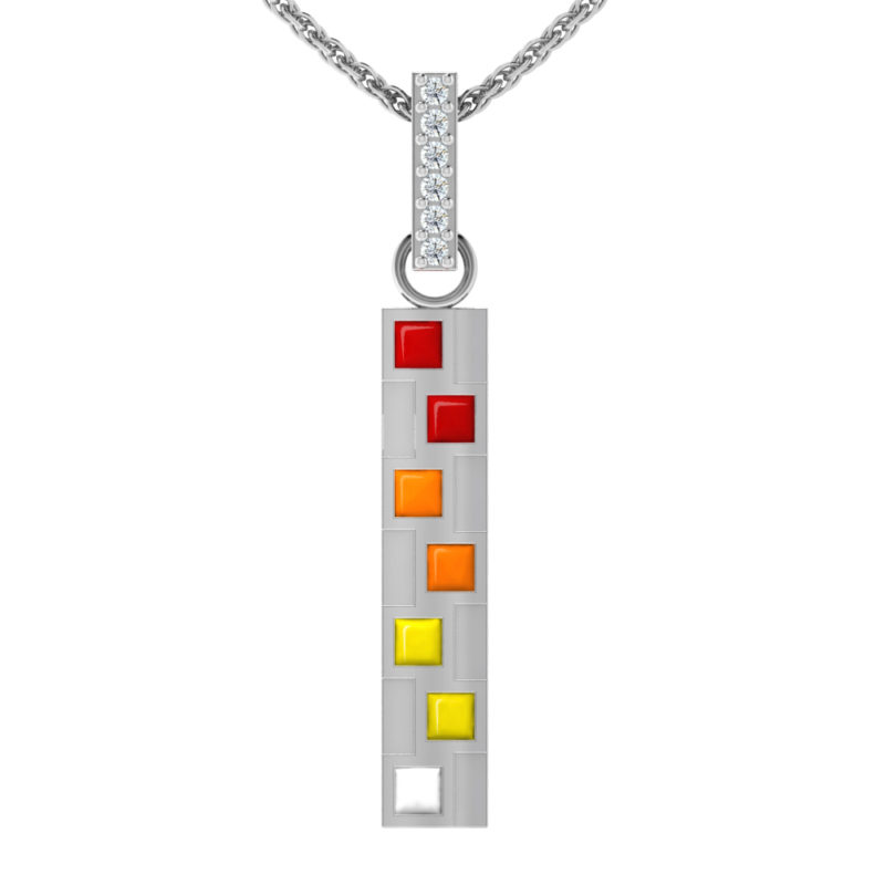 "Solid Sterling Silver Alternating Multi-Color Variation Square Enamel 17.5"" Anchor Chain with Cubic Zirconia on Top"