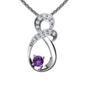"""Solid Sterling Silver Two-tier Decked Round Swarovski Crystals with a 8-Shape Design & Natural Amethyst on an 17.5"""" Anchor Chain"""