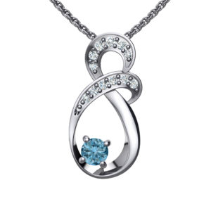 Solid Sterling Silver Two-tier Decked Round Swarovski Crystals with a 8-Shape Design & Aquamarine on an 17.5″ Anchor Chain