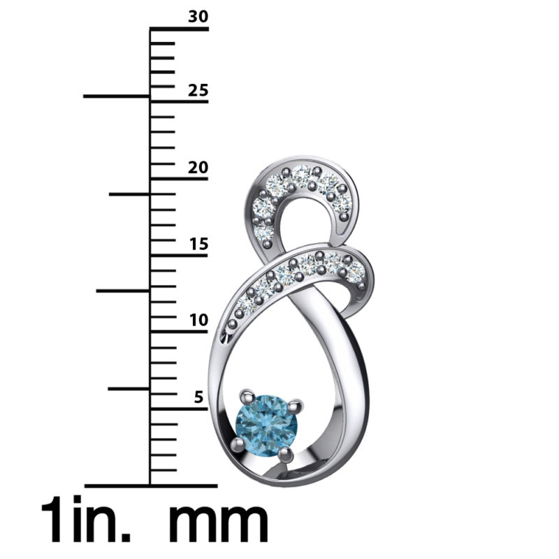 "Solid Sterling Silver Two-tier Decked Round Swarovski Crystals with a 8-Shape Design & Natural Aquamarine on an 17.5"" Anchor Chain"