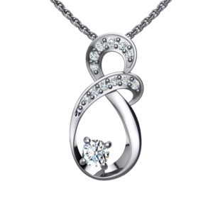 """Solid Sterling Silver Two-tier Doubled Variation Round Crystals with a 8-Shape Design on an 17.5"""" Anchor Chain"""